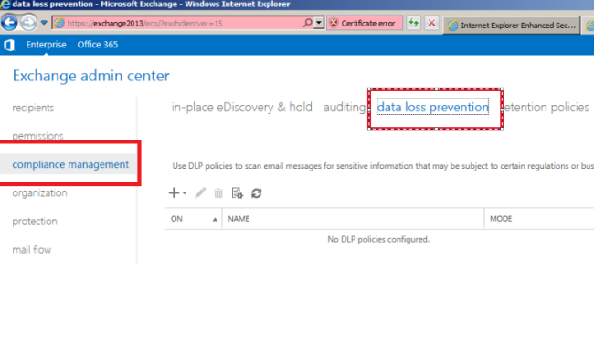 steps to deploy data loss prevention in exchange 2013