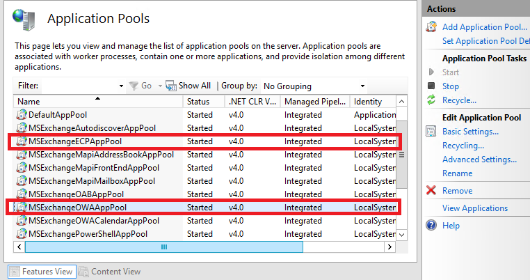 """Exchange 2013 Unable to access ECP Encounter """"500 Unexpected"""