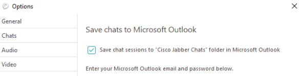Save Cisco Jabber Conversation history in Outlook Folder in