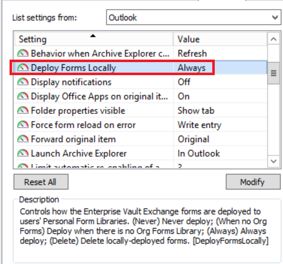 Enterprise vault archive explorer not updating
